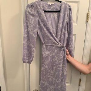 Purple and white print maxi wrap dress